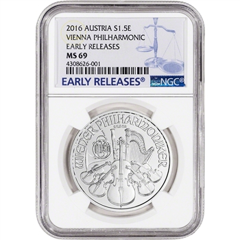 2016 Austria Silver Philharmonic (1 oz) 1.5 Euro - NGC MS69 Early Releases