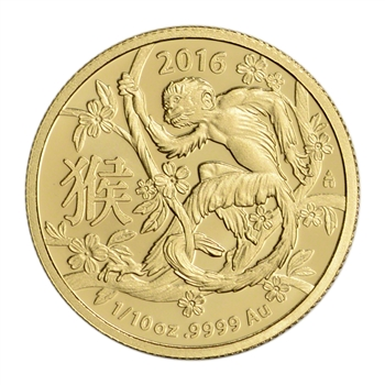 2016 Australia Gold Lunar Year of the Monkey (1/10 oz) $15 - BU