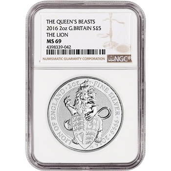2016 Great Britain Silver Queen's Beasts (2 oz) Lion ?5 - NGC MS69