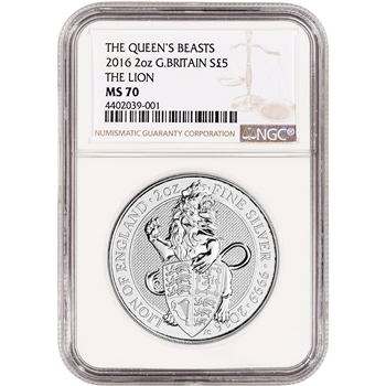 2016 Great Britain Silver Queen's Beasts (2 oz) Lion ?5 - NGC MS70
