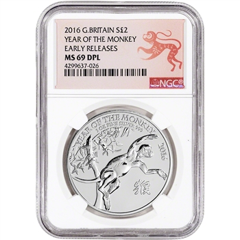 2016 Great Britain Silver Lunar Year of the Monkey (1 oz) ?2 - NGC MS69 DPL - ER