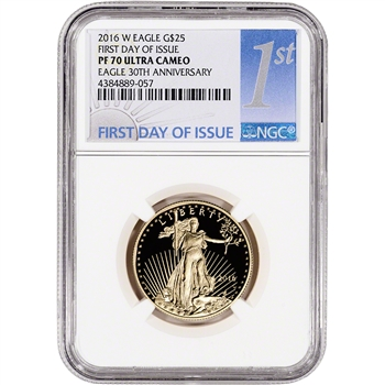 2016-W American Gold Eagle Proof (1/2 oz) $25 NGC PF70 First Day Issue 1st Label