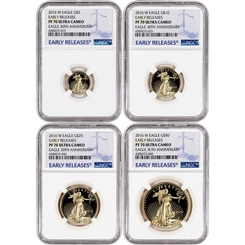 2016-W American Gold Eagle Proof 4-pc Year Set - NGC PF70 - Early Releases