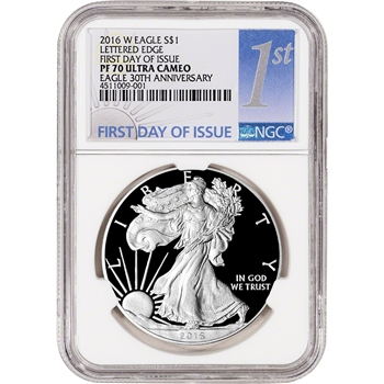 2016-W American Silver Eagle Proof - NGC PF70 UCAM First Day of Issue 1st Label