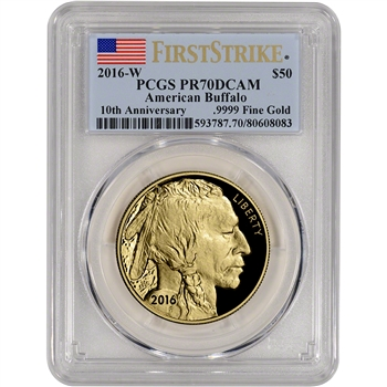 2016-W American Gold Buffalo Proof (1 oz) $50 - PCGS PR70 DCAM - First Strike
