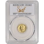 2016-W US Gold Mercury Dime (1/10 oz) 10C - PCGS SP70 First Strike 100th Label