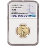2017 American Gold Eagle (1/4 oz) $10 - NGC MS70 - Early Releases Large Label