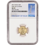 2017 American Gold Eagle (1/10 oz) $5 - NGC MS70 - First Day of Issue 1st Label