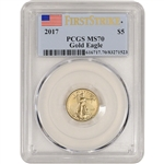 2017 American Gold Eagle (1/10 oz) $5 - PCGS MS70 - First Strike