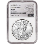 2017 American Silver Eagle - NGC MS69 - Early Releases - ALS Large Label