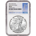 2017 American Silver Eagle - NGC MS69 - First Day of Issue - 1st Label