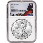 2017 American Silver Eagle - NGC MS69 - Flag Label