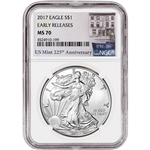 2017 American Silver Eagle - NGC MS70 - Early Releases - 225th Anniversary