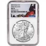 2017 American Silver Eagle - NGC MS70 - Early Releases - Flag Label
