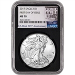 2017 American Silver Eagle - NGC MS70 - First Day Issue 225th Anniversary Black