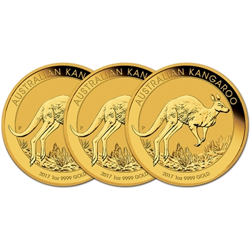 2017-P Australia Gold Kangaroo - 1 oz - $100 - BU - Three 3 Coins