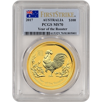 2017 P Australia Gold Lunar Rooster (1 oz) $100 - PCGS MS70 - First Strike
