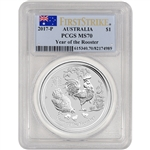 2017 P Australia Silver Lunar Rooster (1 oz) $1 - PCGS MS70 - First Strike