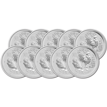 2017 P Australia Silver Lunar Year of the Rooster (1 oz) $1 - BU - Ten 10 Coins