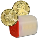2018 Canada Gold Maple Leaf 1 oz $50 - BU - 1 Roll Ten 10 Coins in Mint Tube