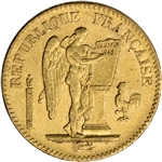 1848 - 1849 France Gold 20 Francs (.1867 oz) - Angel - XF/AU - Random Date