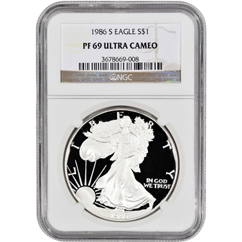 1986-S American Silver Eagle Proof - NGC PF69UCAM