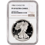 1986-S American Silver Eagle Proof - NGC PF69 UCAM
