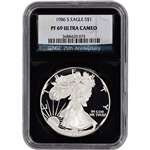 1986-S American Silver Eagle Proof - NGC PF69UCAM - 'Retro' Black Core