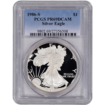 1986-S American Silver Eagle Proof - PCGS PR69DCAM
