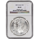 1987 American Silver Eagle - NGC MS69