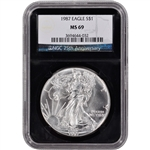 1987 American Silver Eagle - NGC MS69 - 'Retro' Black Core