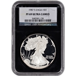 1987-S American Silver Eagle Proof - NGC PF69UCAM - 'Retro' Black Core