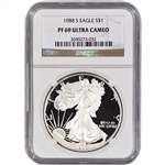 1988-S American Silver Eagle Proof - NGC PF69UCAM