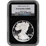 1988-S American Silver Eagle Proof - NGC PF69UCAM - 'Retro' Black Core