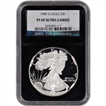 1989-S American Silver Eagle Proof - NGC PF69UCAM - 'Retro' Black Core