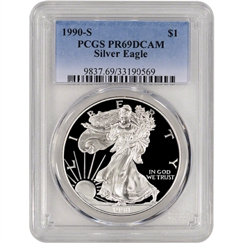 1990-S American Silver Eagle Proof - PCGS PR69DCAM