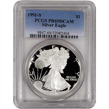 1991-S American Silver Eagle Proof - PCGS PR69DCAM