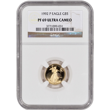 1992-P American Gold Eagle Proof (1/10 oz) $5 - NGC PF69UCAM