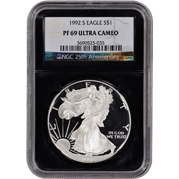 1992-S American Silver Eagle Proof - NGC PF69UCAM - 'Retro' Black Core