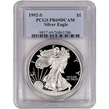 1992-S American Silver Eagle Proof - PCGS PR69 DCAM