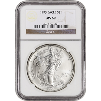 1993 American Silver Eagle - NGC MS69