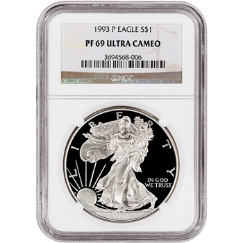 1993-P American Silver Eagle Proof - NGC PF69UCAM