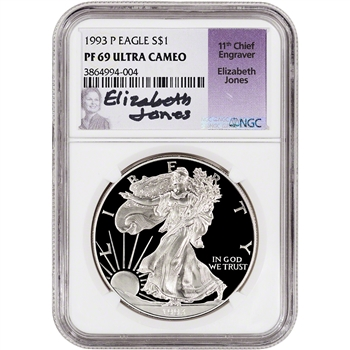 1993-P American Silver Eagle Proof - NGC PF69 UCAM - Jones Signed