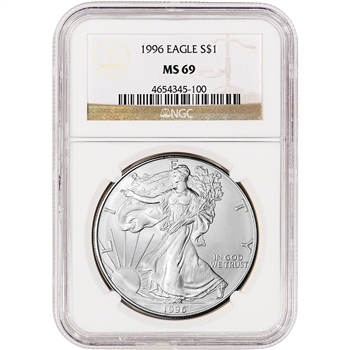 1996 American Silver Eagle - NGC MS69