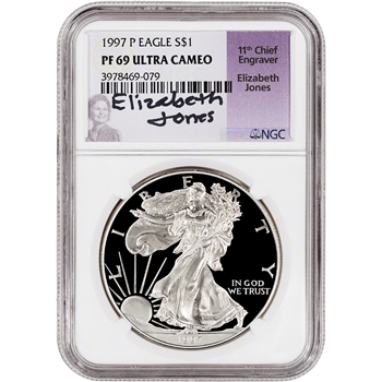 1997-P American Silver Eagle Proof - NGC PF69 UCAM - Jones Signed