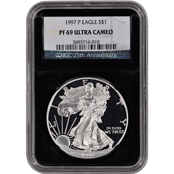 1997-P American Silver Eagle Proof - NGC PF69UCAM - 'Retro' Black Core