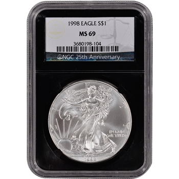 1998 American Silver Eagle - NGC MS69 - 'Retro' Black Core