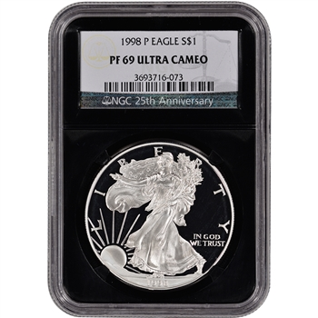 1998-P American Silver Eagle Proof - NGC PF69UCAM - 'Retro' Black Core