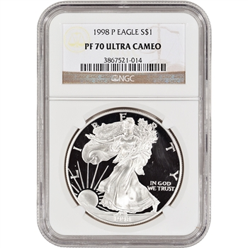 1998-P American Silver Eagle Proof - NGC PF70 UCAM