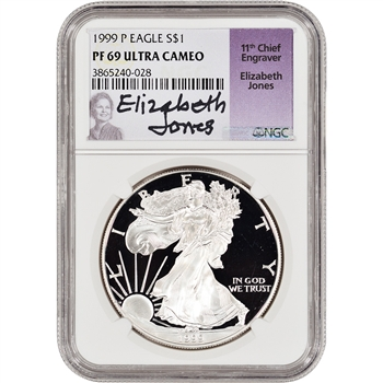 1999-P American Silver Eagle Proof - NGC PF69 UCAM - Jones Signed